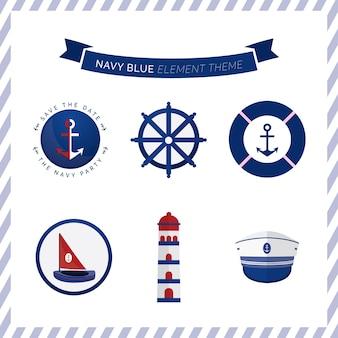 Navy blue element theme anchor ship