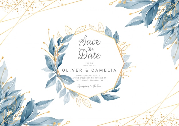 Navy blue wedding invitation card template with golden watercolor floral frame