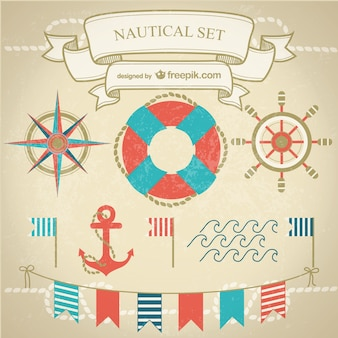 Navy elements with anchor, waves and garlands