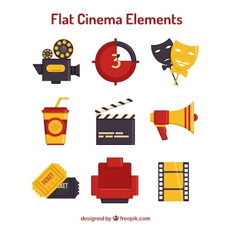 Necessary cinema elements in flat design