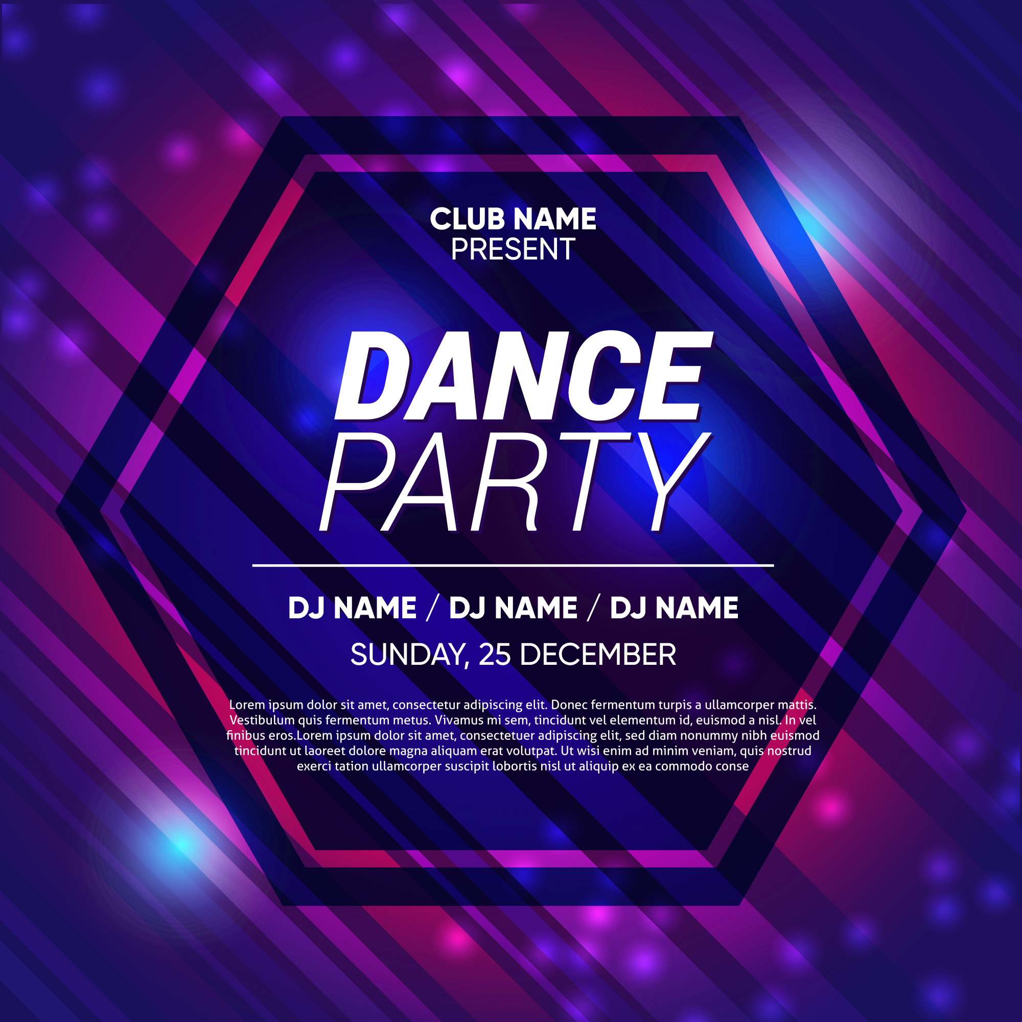 Neon Abstract Party Background Template