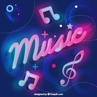 Neon background with music word