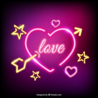 Neon heart background with an arrow