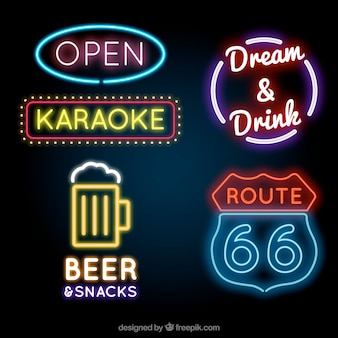 Neon light establishment placards