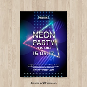 Neon party poster with colorful triangle
