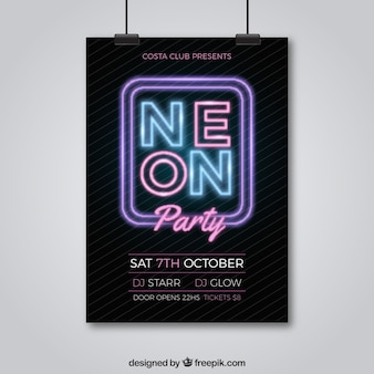 Neon party poster with elegant style