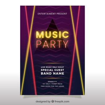 Neon party poster with triangle