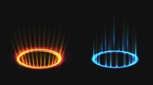 Neon round glow rays set