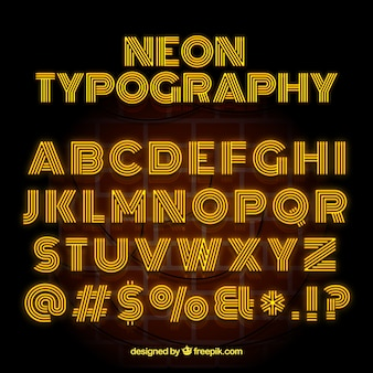 Neon typography with yellow letters