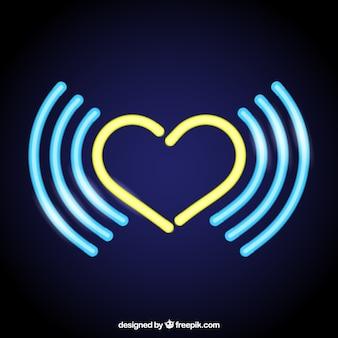 Neon yellow heart background