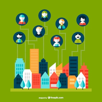 Networking cityscape infographic