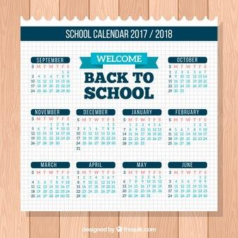 New school calendar on notebook paper