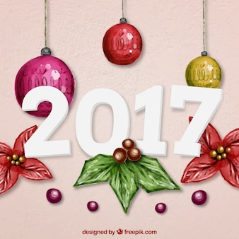New Year 2016 Baubles Background