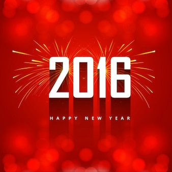 New year 2016 greeting with firework