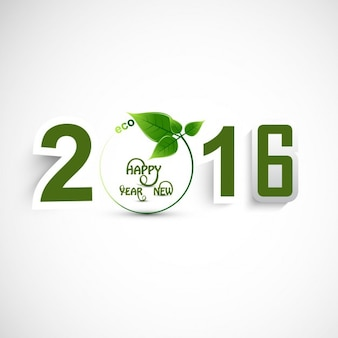 New year 2016 text with leaves
