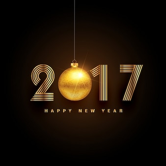 New year 2017 background with golden christmas ball