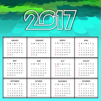 New year 2017 calendar in abstract style