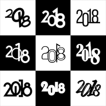 New Year 2018 Different Typography Heading Collection with Set of 9