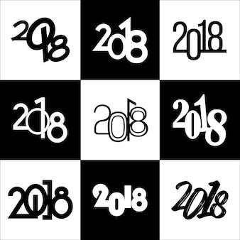 2018年の新年、9つの異なるタイポグラフィの見出しコレクション