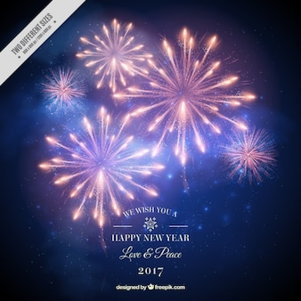 New year background 2017 of fireworks in realistic style