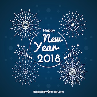 New year background with fireworks design