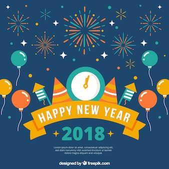 フラットデザインの新年の背景