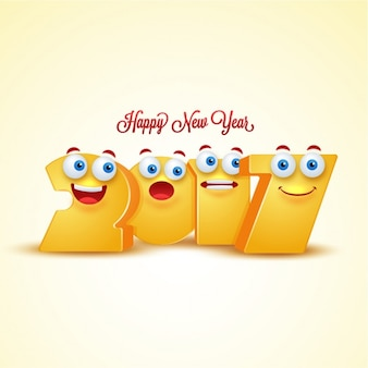 New year background with funny emoticons