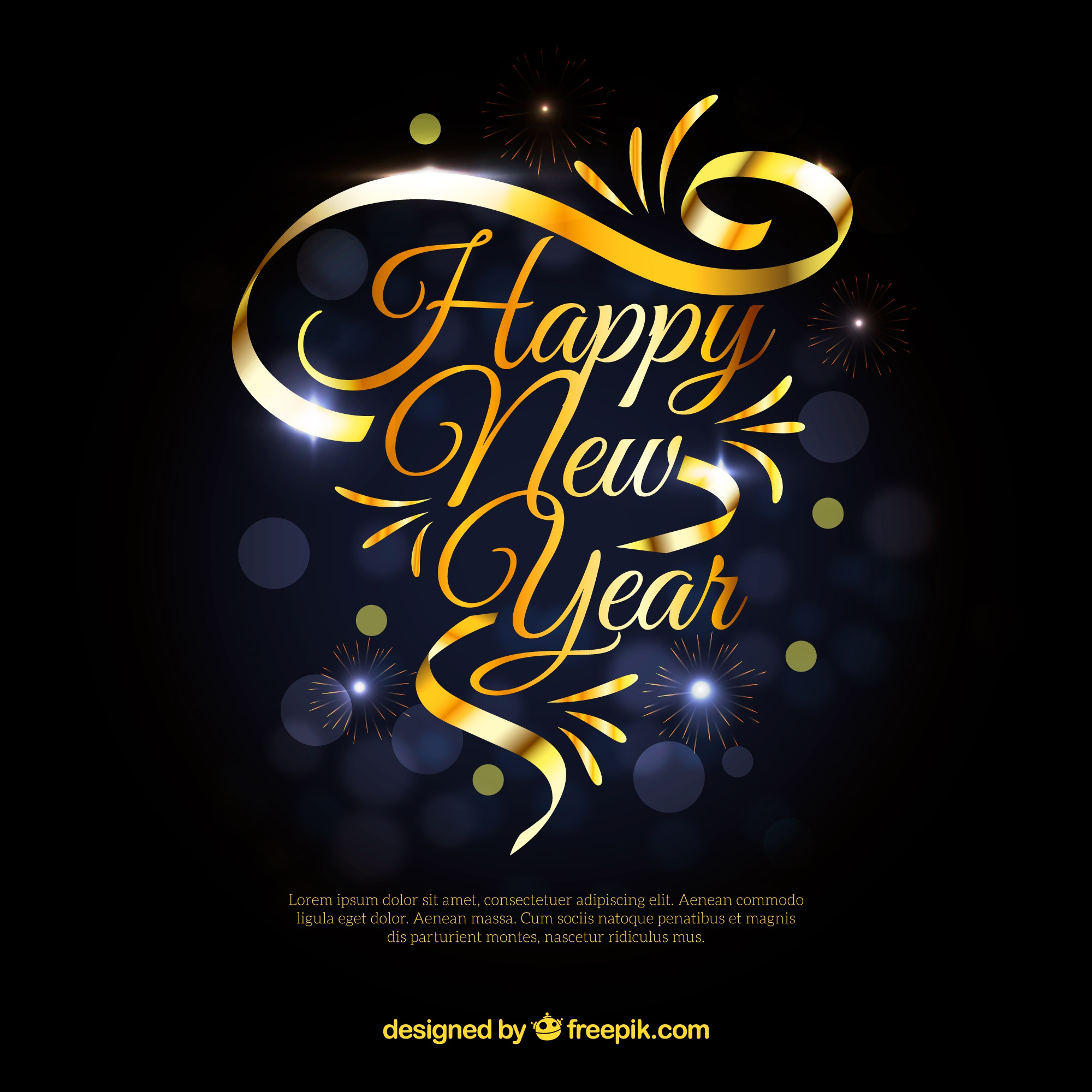 New year background with golden ribbon