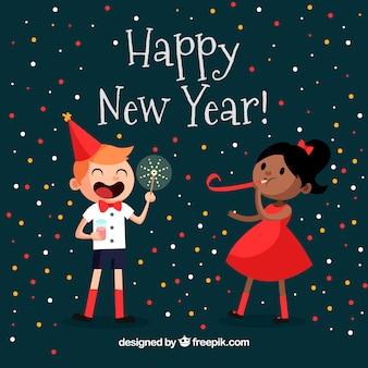 幸せな子供たちと新年の背景