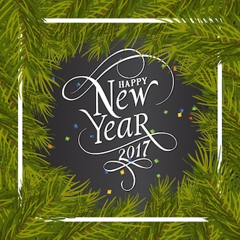 New year background with pine frame