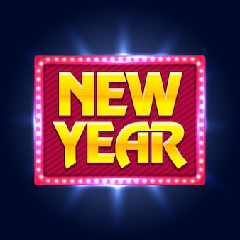 New year background with shiny decorative sign