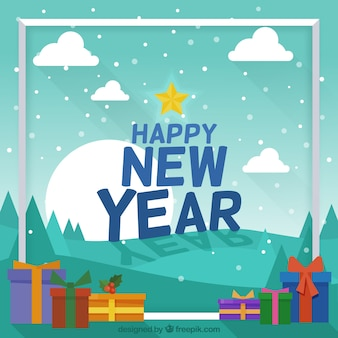 New year background with snowed landscape