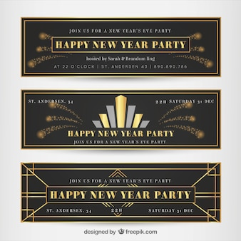 New year banners in art deco style