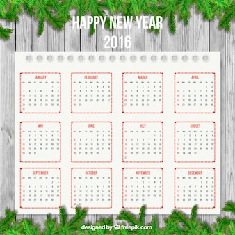 New year calendar with garland decoration