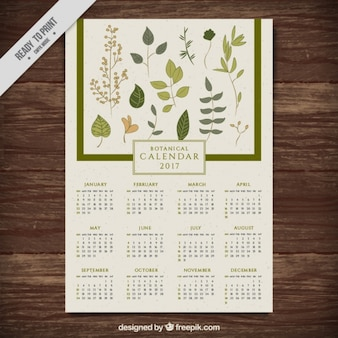 New year calendar with hand drawn leaves