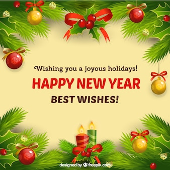 New Year card with Christmas ornaments