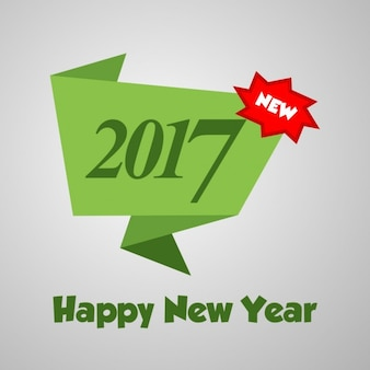 New year card with green origami banner