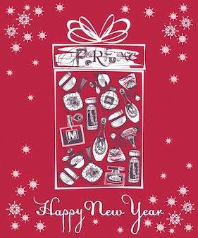New year card with perfume bottles