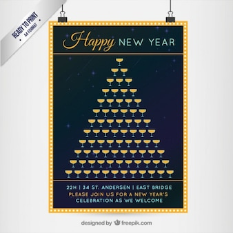 New year champagne glasses poster