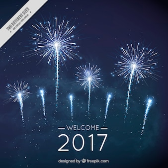 New year fireworks background in dark blue color