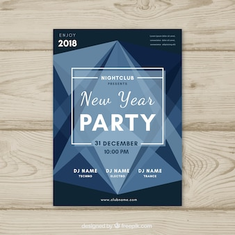 New year geometric party poster
