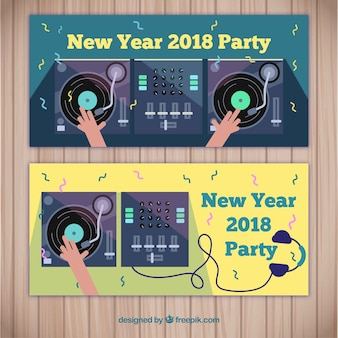 New year party 2018 banners