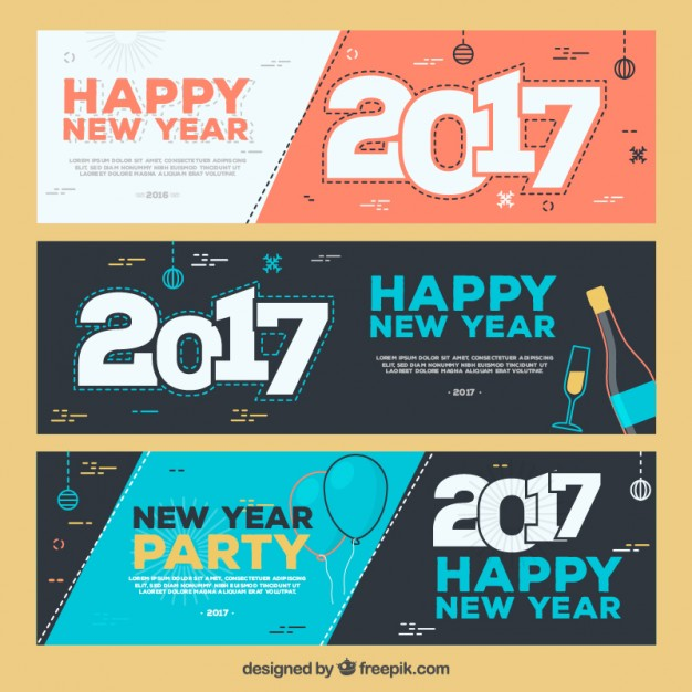 New Year Party Banner Set