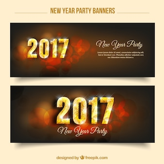 New year party banners with abstract backgrounds