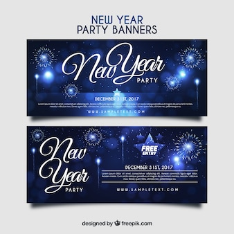 New year party banners with fireworks