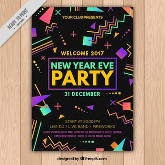 New year party brochure with colorful geometric shapes