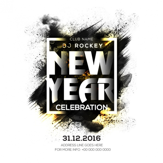 New year party poster with black stain and golden details