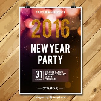 New year party poster with glittering numbers