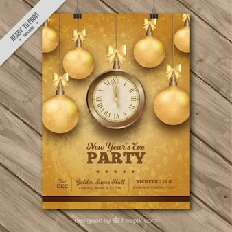 New year party poster with golden baubles
