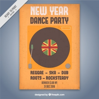 New year poster with a vinyl
